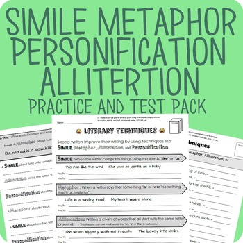 Simile, Metaphor, Personification, Alliteration Packet + Test