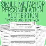 Simile, Metaphor, Personification, Alliteration Packet + Test (Digital Enabled!)