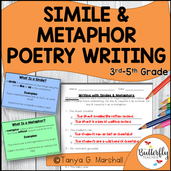 Simile & Metaphor Poetry Writing Set with Power Point Lesson