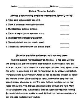 Simile Metaphor Practice Sheet