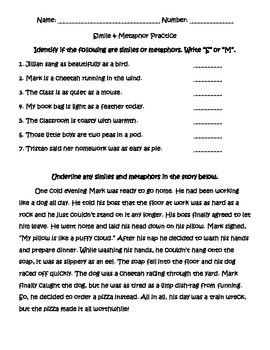 Simile Metaphor Practice Sheet