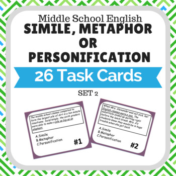 Simile Metaphor or Personification Task Cards Set 2