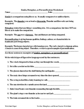 Simile, Metaphor, or Personification Worksheet by The Dolllar Store