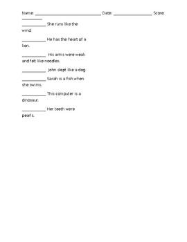 Simile & Metaphors Quiz