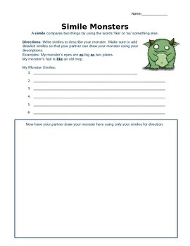 Metaphor and Simile Monsters: An engaging activity to teach figurative language
