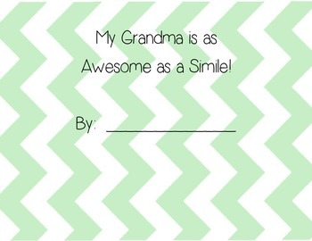 Simile- My Grandma is as Awesome as a Simile- Grandparent's Day
