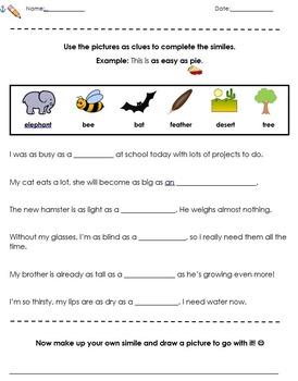 Similes: Presentation, Activities, Worksheets