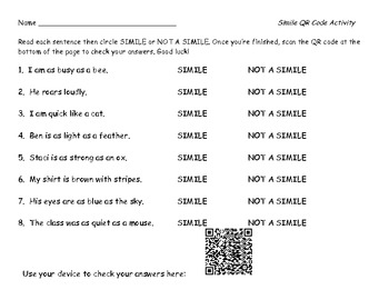 Simile QR Code Activity