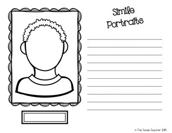 Simile Self Portraits Activity for Grades 2-5 (2 types of paper included!)