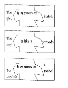 Simile Sort (Figurative Language Game - similes and metaphors)