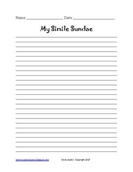 Simile Sundae Simile Writing Activity