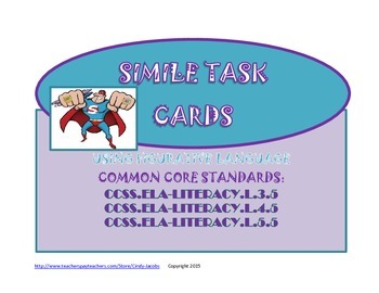 Simile Task Cards Figurative Language Simile