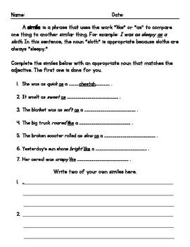 Simile Worksheet