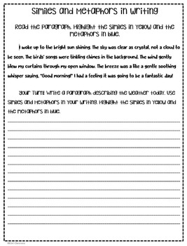 Simile and Metaphor Guided Interactive Notes and Student Writing Activities