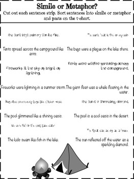 Simile and Metaphor Center: Summer Themed