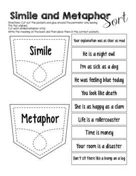 Simile and Metaphor Interactive Sort