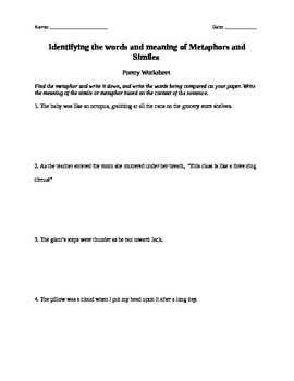 Simile and Metaphor Lesson Plan and Worksheet