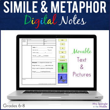 Simile and Metaphor DIGITAL Pixanotes™ (Differentiated Picture Notes)