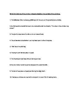 Simile and Metaphor Quiz