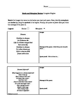 Simile and Metaphor Review worksheet
