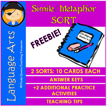 Simile and Metaphor Sorting FREEBIE!/Common Core Aligned