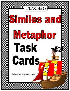 Simile and Metaphor Task Cards and Game Board - 56 Pirate Themed Cards