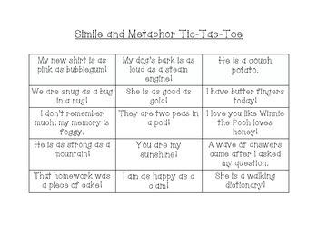 Simile and Metaphor Tic Tac Toe