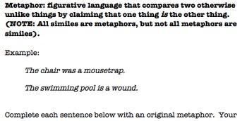Simile and Metaphor Worksheet