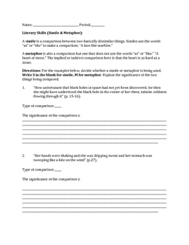 "Simile and Metaphor Worksheet ""Like Water for Chocolate"""