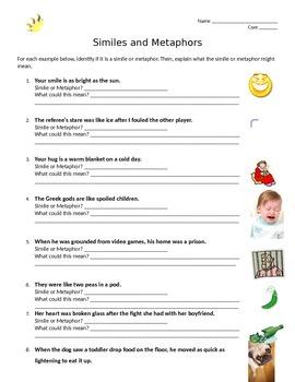 Simile and Metaphor Worksheet Practice