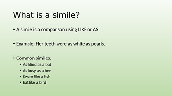 Simile and Metaphor review/mini-lesson