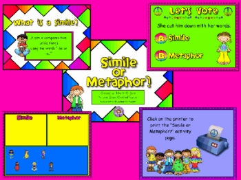 Simile or Metaphor ? Promethean Flipchart Lesson