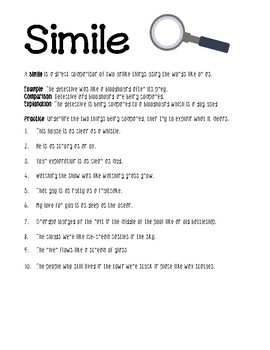 23 FREE Simile worksheets