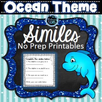 Figurative Language Worksheets Ocean Theme