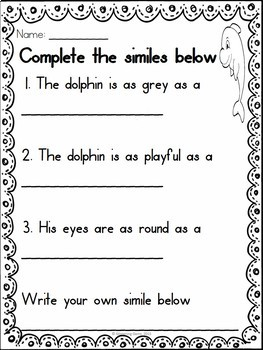 Figurative Language Worksheets Ocean Theme