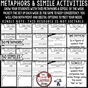Simile of The Week- 3rd Grade, 4th Grade & 5th & Figurative Language Activities