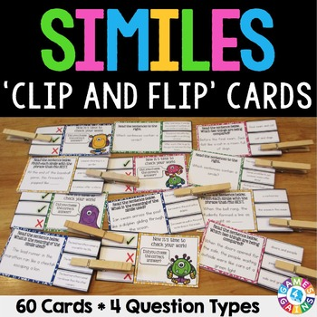 Similes Activity: 60 Similes Task Cards (Clip and Flip)
