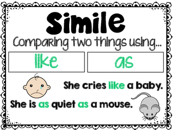 Similes Poster and Task Cards