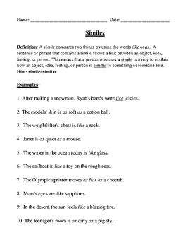 Similes Definition, Examples, Worksheet, and Detailed Answer Key