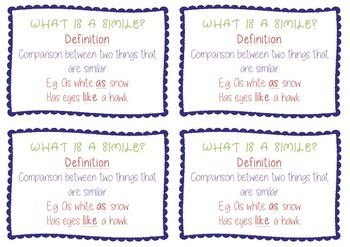 Similes - Guided Reading Task Cards
