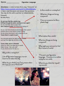 """Similes, Metaphors, & Figurative Language in Katy Perry's song """"Firework"""""""
