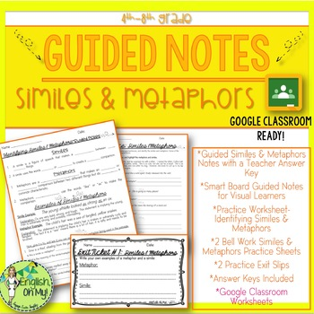 Similes, Metaphors, Guided Notes, Worksheets, Practice