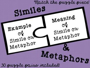 {Figurative Language} Similes & Metaphors Meaning Puzzle M