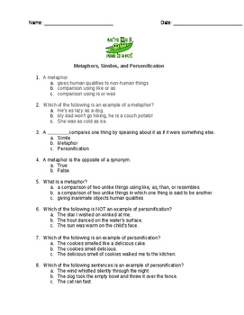Similes, Metaphors, and Personification Assessment