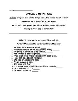 Explaining Similes and Metaphors Worksheets