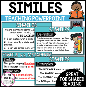 Similes PowerPoint - For shared/modeled reading