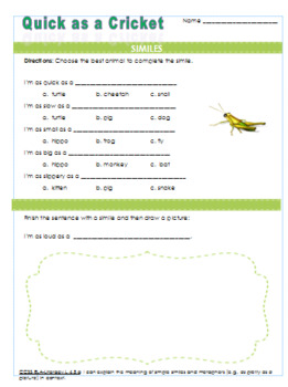 Similes Quick as a Cricket Worksheet