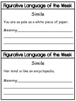 Similes:  Simile of the Week