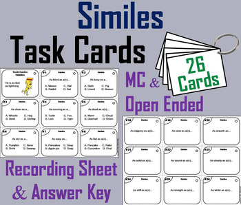 Similes Task Cards 3rd 4th 5th 6th 7th Grade Figurative Language Task Cards