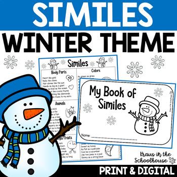 Similes - Figurative Language Writing Activities Winter Themed